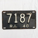 Click here to enlarge image and see more about item T1197: 1940 Rhode Island License Plate #7187