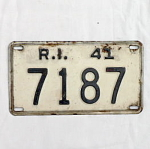 Click here to enlarge image and see more about item T1198: 1941 Rhode Island License Plate #7187