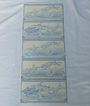 Set of 5 Blue White Antique Tiles with Hunting Animals