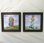 Pair of hand painted framed tiles