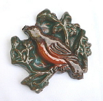 Vintage Moravian Brocade tile with Bird
