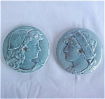 Click to view larger image of Matching Pair of Blue Portrait Antique Stove Tiles (Image1)
