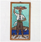 Click here to enlarge image and see more about item T1475-C: Scenic Signed Tile - Man at the Sea Shore