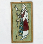 Click here to enlarge image and see more about item T1475-E: Scenic Signed Tile - Woman Spinning Yarn
