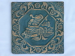 Click here to enlarge image and see more about item T1125-C: Moravian Pottery Figural Tile