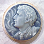 Click to view larger image of Isaac Broome Portrait Stove Tile- Blue (Image1)