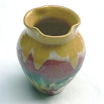 Click here to enlarge image and see more about item T1347: Rainbow Drip Pottery Vase
