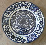 Signed Spanish Talavera Plate Blue and White