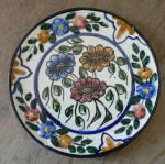 Click here to enlarge image and see more about item T1352: Signed Spanish Talavera plate Multi-Color