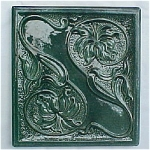 Click here to enlarge image and see more about item T1151-R: Antique German Art Nouveau Style Stove Tile