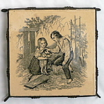 Click here to enlarge image and see more about item T1151-U: Boy and Girl with Puppy Antique Tile