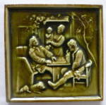 Signed Antique Tile with Family Scene