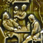 Click to view larger image of Signed Antique Tile with Family Scene (Image4)