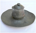 Click here to enlarge image and see more about item T1520: Kayserzinn Pewter Inkwell with Butterfly Finnial