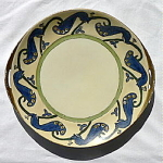 Click here to enlarge image and see more about item T1524: Porcelain Plate with Peacocks Hand Painted