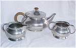 Click here to enlarge image and see more about item T1601: Tudric Liberty Pewter Tea Set