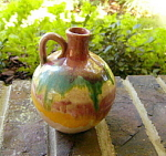 Click to view larger image of Rainbow Drip Pottery Handled Jug (Image1)