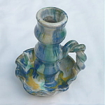 Click to view larger image of Rope Handle Candlestick Southern Folk Pottery - #2 (Image1)
