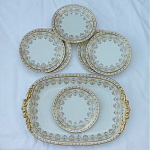 Click here to enlarge image and see more about item T1079: Limoges Porcelain Cake Set