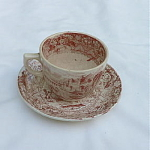 Click here to enlarge image and see more about item T2057: Childs Red White Cup & Saucer Rhone Pattern
