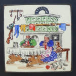 Click to view larger image of Annelore Luest Tile Trivet Couple at Old Tiled Stove (Image1)