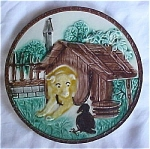 Click here to enlarge image and see more about item TMaj: Majolica Dog and Crow tile ca 1890