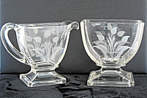 Eapg Riverside Jersey Lily Etched Creamer & Sugar