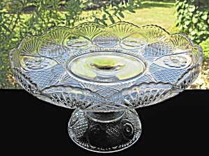 Antique Eapg Sunk Daisy Glass High Standard Cake Stand