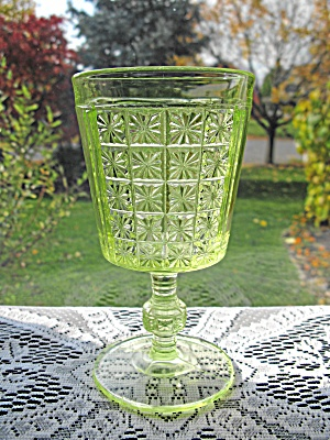 Antique Eapg Vaseline Two Panel Goblet