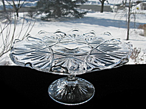 Antique Eapg Bryce/higbee Cake Stand - Finecut & Fan