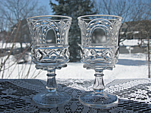 Antique Eapg Aurora/Diamond Horshoe Wine Stems - Pr. (Image1)