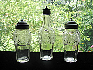 Antique Eapg Rare Gothic Castor Bottles - Set Of 3