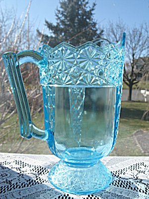 Eapg Blue Queen Pattern Water Pitcher (Image1)