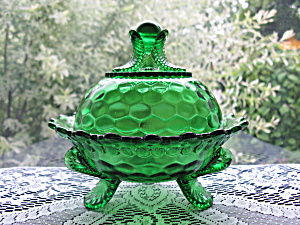 Antique Eapg Vermont Emerald Green Butter Dish