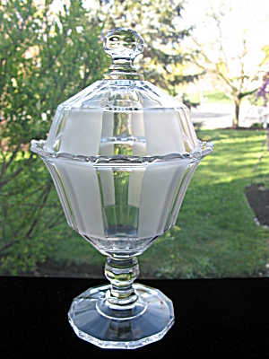 Antique Eapg Duncan Frosted Ribbon Covered Sugar Bowl (Image1)