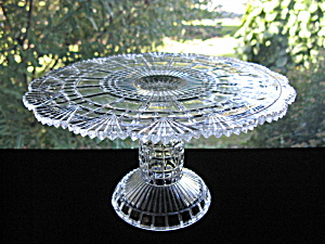 Antique Block & Fan Pattern Glass Cake Stand