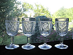 Antique Eapg California Wine Stem Goblets - Set Of 4