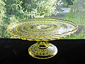 Antique Pattern Glass Amber Pressed Diamond Cake Stand