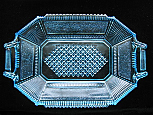 Antique Eapg Pleat & Panel Rare Blue Tray