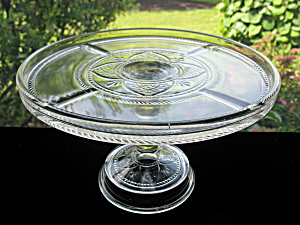 Antique Victorian Glass Cake Stand - Argent/rope Bands