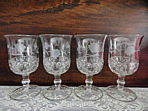 Antique Six Panel Finecut Etched Goblets - 4