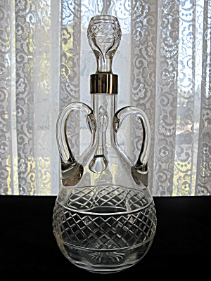 Antique Mappin & Webb 3-Handled Decanter w/Silver Mount (Image1)