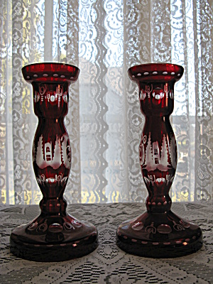 Egermann Bohemian Ruby Cut to Clear Candlesticks - Pr. (Image1)