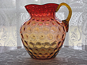 Antique Amberina Inverted Coinspot Pitcher (Image1)