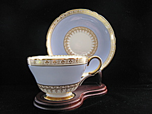 Shelley Cup & Saucer - Blue with Gold Clover Border (Image1)