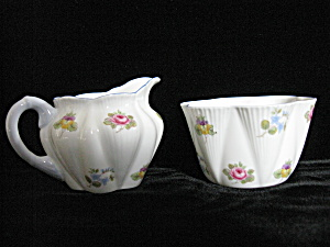 Shelley Fine Bone China Mult Floral Creamer & Sugar