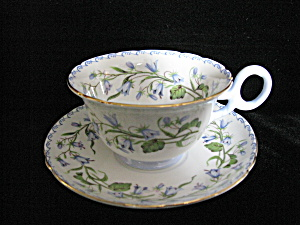 Shelley China Harebell W/scroll Border Cup & Sauce