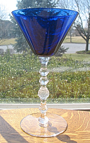 Cambridge Royal Blue Goblet W/crystal Stem
