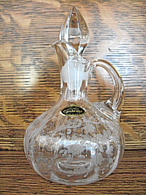 Cambridge Glass Chantilly Etch Oil Bottle W/orig. Label