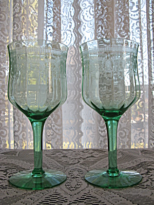 Cambridge Glass Green Etched Goblets - Pair